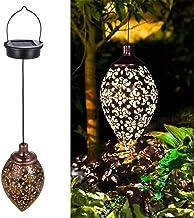 Solar Lantern Light, Outdoor Hanging Waterdichte Tuinlichten Metalen Lamp, Metaal Hollow Design Retro Patroon Projectielam...