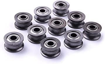 Atoplee 20pcs Metal Sealed Guide Wire Line Track Deep U Groove Pulley Rail Ball Bearing U624ZZ4 (4x13x7mm)