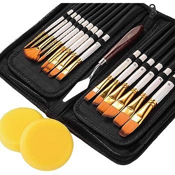 Gobesty Set de Pinceles, 15 Piezas de Pinceles de Pintura acrílica para Artistas Profesionales con raspador y Esponja para Acuarela, Aceite: Amazon.es: Hogar