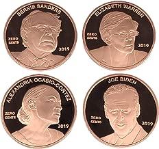 Aizics Mint Set of 4 Zero Cents Democrat Pennies/Alexandria Ocasio-Cortez AOC, Joe Biden, Bernie Sanders & Elizabeth Warren | Novelty Democrat Penny Coin Tokens | Copper Plated Large Size 30mm x 2mm