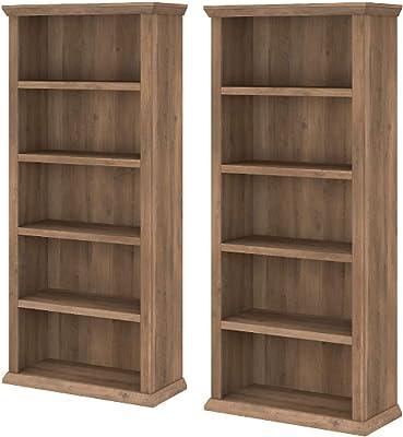 Bush Furniture Yorktown Tall 5 Shelf Bookcase Set of 2, Reclaimed Pine