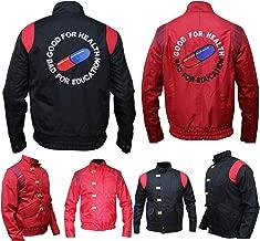 Akira Mens Shotaro Kaneda Capsule Motorcycle Good for Health Bad for Education Logo Cotton Jacket