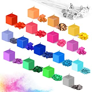 Xruison 16 Farben Kerzenfarbstoff Sojawachs Schmelzfarbstoffchips Kerzenwachsfarbstoff Sojawachsfarbstoff für Wachsschmelzen Kerzenfarbstoff für Sojawachs 5 g/Packung mit 50 Dochtkerzen