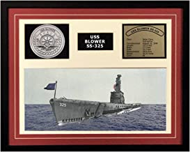 Navy Emporium USS Blower SS 325 Framed Navy Ship Display Burgundy