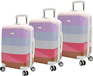 Nicole Miller Luggage Rainbow Collection - 3 Piece Hardside Lightweight Spinner Suitcase Set - Travel Set includes 20-Inch...