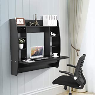 MTFY Wall Mounted Computer Desk,Multi-Function Table Wall Mount Laptop Desk Writing Desk Home Office Computer Desk with Large Storage,Wall Desk,Black (Type-10)
