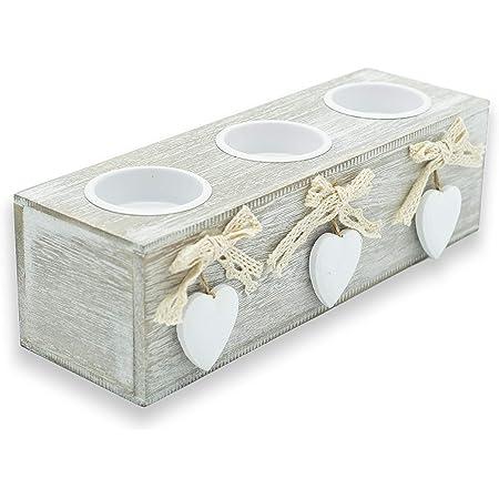 Portavelas de madera, portavelas de mesa con corazón de 3, adornos Shabby Chic, 12 x 6,5 cm (3 velas)