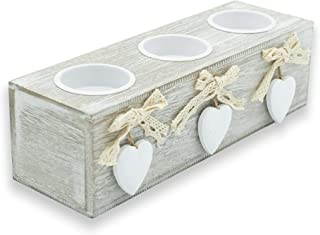 Porte-bougies en bois, bougeoirs de table avec cœur de 3 bougies, style shabby chic, 12 x 6,5 cm