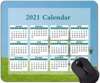 2021 Mouse Pad Calendar,Hill Lonely Tree Green Rubber Mouse Pad