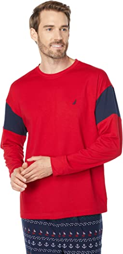 Color-Block Long Sleeve Sleep Top
