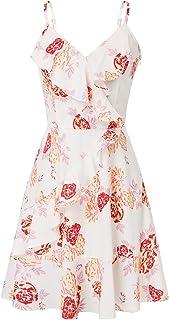 GRACE KARIN Vestido de Verano para Fiesta A-línea con Correas Espaguetis para Mujer Cuello en V Floral