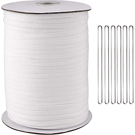 125Yard 1/4 Inch Wide Elastic String Cord Bands Rope with 100 pcs 50MM Aluminum Nose Bridge for Sewing Crafts DIY Mask