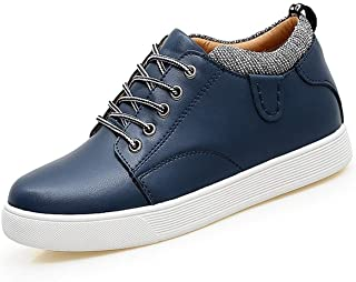 Athletic Shoes For Men Court Sneakers Lace Up Anti-slip Height Increasing 7cm Microfiber Leather Outdoor Running Walking Round Toe` Ameyso (Color : White, Size : 40 EU)