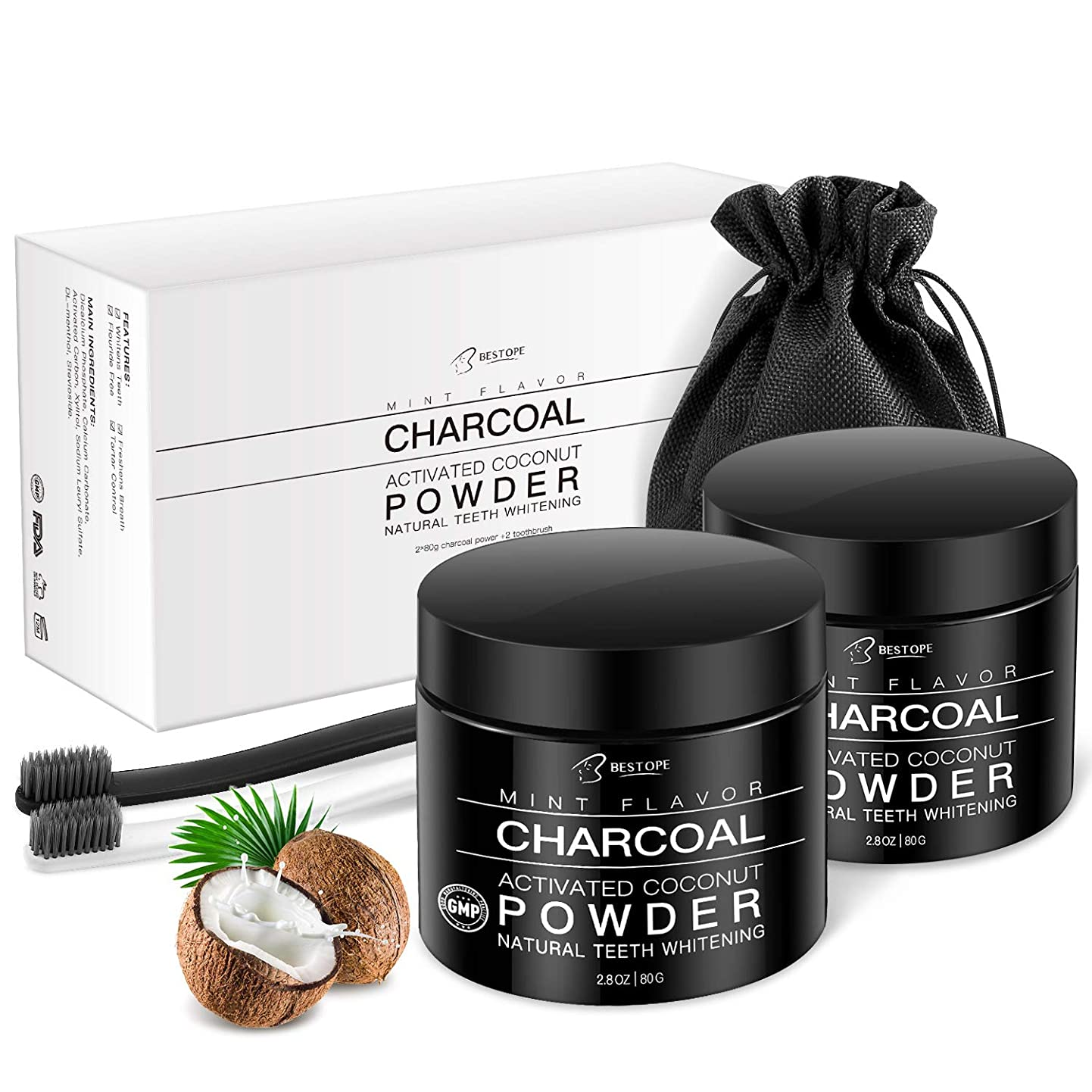 BESTOPE Teeth Whitening Charcoal Powder[2 Pack], Natural Activated Charcoal Teeth Whitener Powder with 2 Brush Oral Care Set (2.8 oz x 2) qrmezvrnhpw3