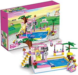 BRICK STORY Water Park Building Bricks Blocks Diving Platform Slides Pool Juice Bar Sun Lounger Building Kit for Girls Boys Birthday Christmas Party Gifts (302 PCS)