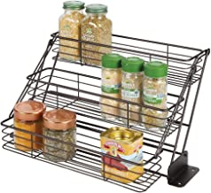 mDesign Modern Metal 3 Tier Pull Down Spice Rack - Easy Reach Retractable Large Capacity Kitchen Storage Shelf Organizer for Cabinet and Pantry, Holder for Seasoning Jars, Bottles, Shakers - Bronze