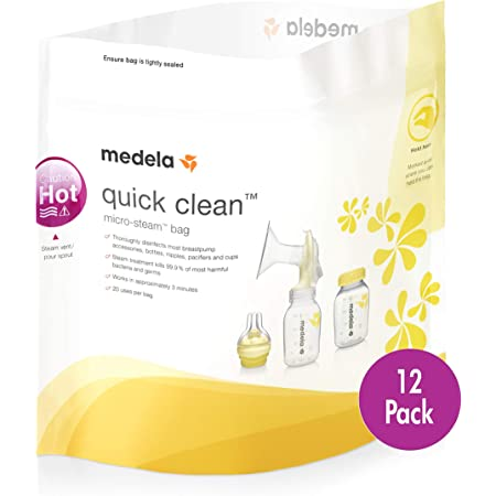 Medela Quick Clean MicroSteam Bags, Sterilizing Bags for Bottles Breast Pump Parts Eliminates 99.9 of Common Bacteria Germs Disinfects Most Breastpump Accessories, Yellow, 12 Pack