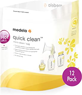 Medela Quick Clean Micro-Steam Bags, 12Count Sterilizing Bags for Bottles & Breast Pump Parts, Eliminates 99.9% of Common ...