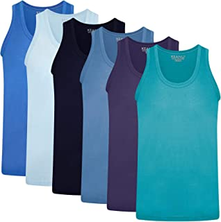 Keanu Mens Fitted 100% Cotton Vests Pack of 6