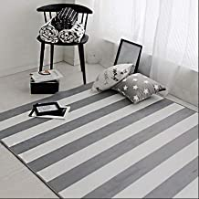 Off-White Striped Carpet, Large Non-Slip Soft Foot Pad, Suitable for Bedroom, Living Room, Dining Room, Etc. black-150 * 2...
