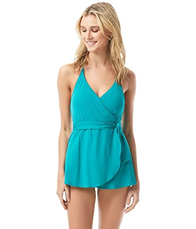 Vince Camuto San Remo Shades Halter V-Neck Swimdress w/ Removable Soft Cups (Riviera) Women