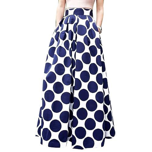 2e592956cfe CHOiES record your inspired fashion Women s White Contrast Polka Dot Print  Maxi Skirt