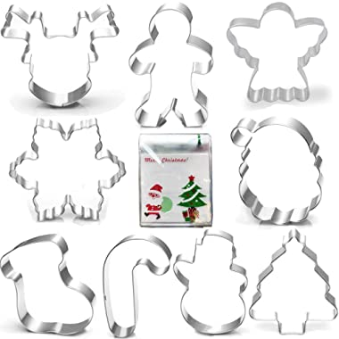 Christmas Cookie Cutter Set-3 Inches-Gingerbread Men, Snowflake, Reindeer, Angel, Christmas Tree, Snowman, Santa Face and More Cookie Cutters molds. (9 piece)