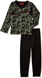 JOANNA Pajama Set with Printed High Score and Rhombus Pattern for Boys