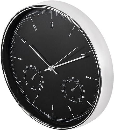 """Maclean Reloj de Pared con termómetro e higrómetro 12"""" 30cm Color Plateado o Dorado para Casa u Oficina (CE60S - Plat..."""