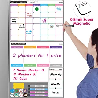 Dry Erase Calendar for Refrigerator, Set of 3 Strong Magnetic White Board Calendar for Fridge- Monthly, Weekly, Daily Family Calendar with 4 Markers, 1 Eraser and 10 Symbols Included by NEARPOW