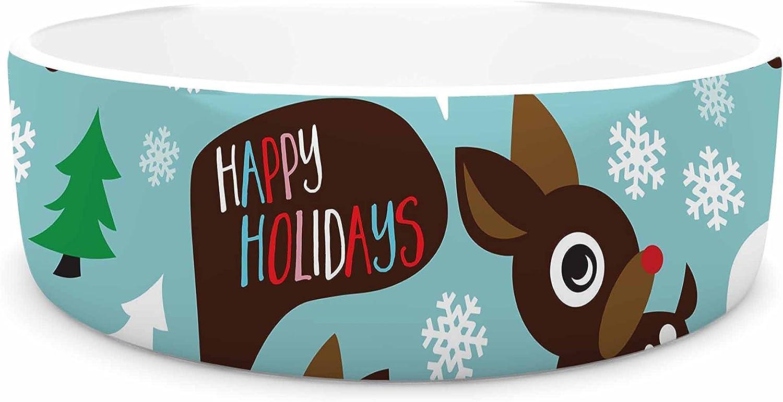 KESS InHouse KESS Original Cheerful Reindeer  bluee Brown Pet Bowl, 4.75