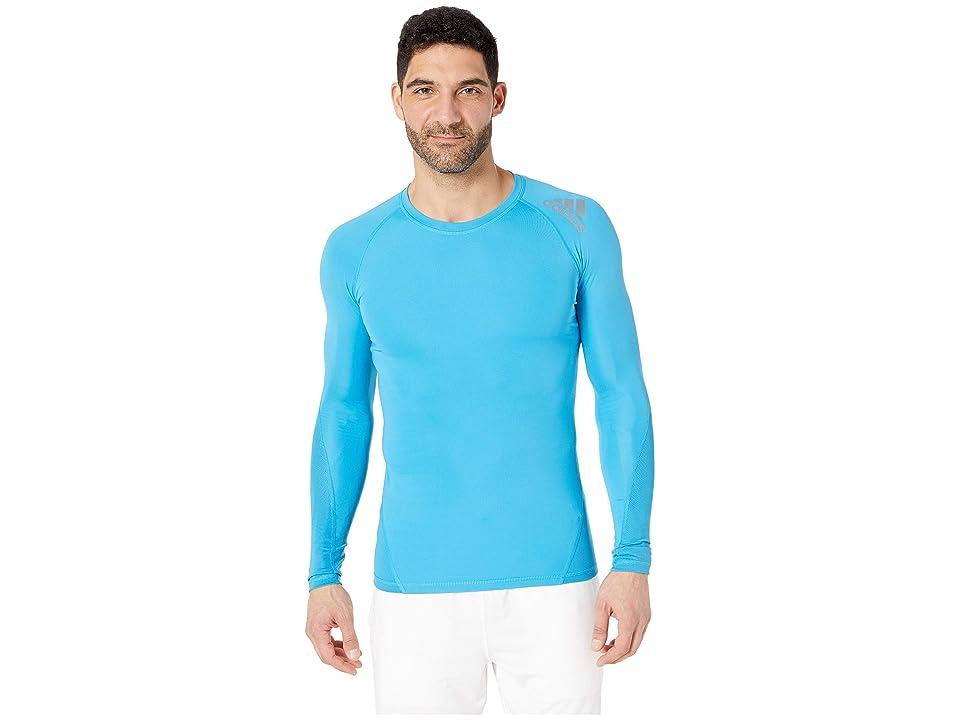 adidas Long Sleeve Alphaskin Sport Tee (Shock Cyan) Men's T Shirt, Blue