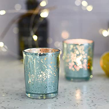 Blue Votive Candle Holders, Mercury Glass Tealight Candle Holder Set of 12, Perfect Centerpieces for Wedding, Party, Home Dec