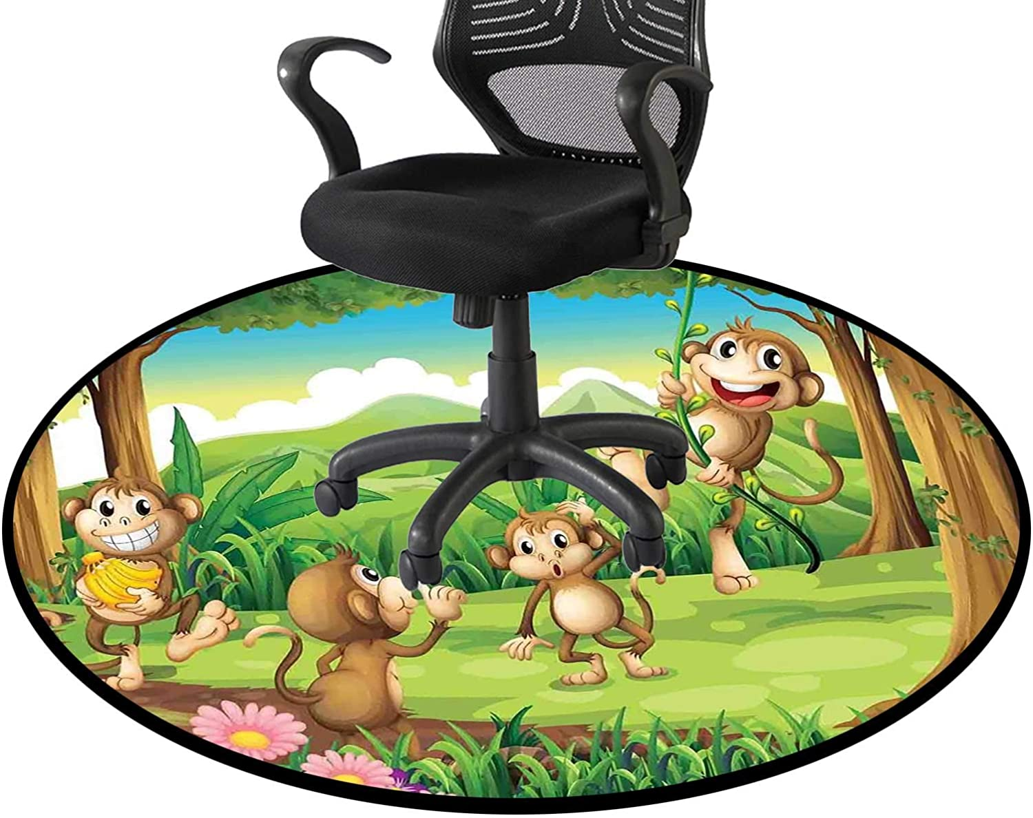 Tan safety Brown Office Swivel Chair Animals Tropical Study Bedroom Mat OFFicial