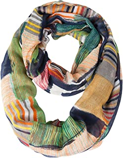 Women's Light Weight Colorful Painting Plaid Tartan Infinity Scarf
