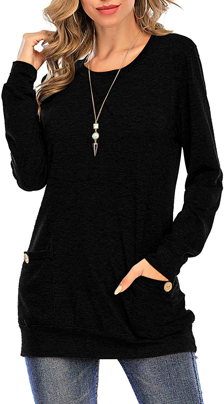 Women's Fall Long Sleeve Round Neck Tunics for Leggings Slim Fit Tops with Pockets