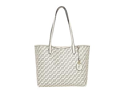 LAUREN Ralph Lauren Coated Canvas Collins 32 Tote Medium (Vanilla Heritage Logo) Handbags