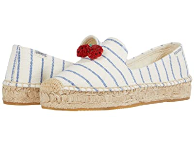 Soludos Strawberry Stripes Platform SS (White/Blue) Women