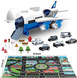 Bimonk Police Toy Cars Set, Police Car Vehicles and Inertia Wheel Plane Toys with Play Mat for Toddlers, Kids, Boys, Girls, 6 Police Cars, 11 Road Signs, 1 Cargo Airplane