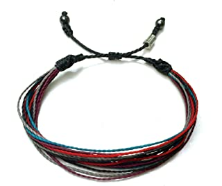 RUMI SUMAQ Custom Size Men's String Rope Woven Surf Bracelet in Black Red Plum Turquoise and Gray