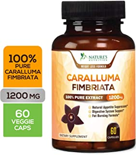 100% Pure Caralluma Fimbriata Extract, Highest Potency 1200mg - Weight Loss Appetite Suppressant, Made in USA, Best Vegan Keto Diet Pills, Fat Burner Supplement for Women & Men - 60 Capsules