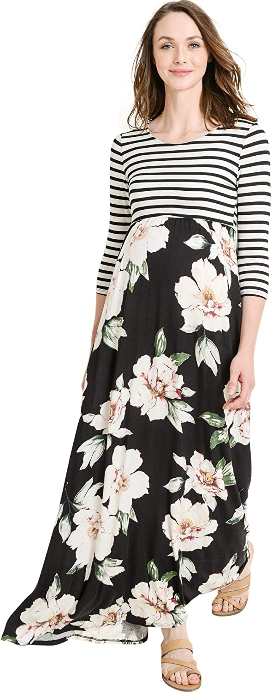 HELLO MIZ Women's Floral Color Block Stripe Maxi New Mesa Mall product Dress Maternity