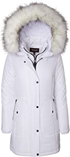Sportoli Women's Long Quilted Down Alternative Vestee Puffer Jacket Fur Trim Plush Hood