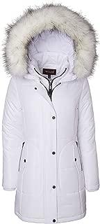 Sportoli Women's Long Quilted Down Alternative Vestee Puffer Jacket Fur Trim Plush Hood