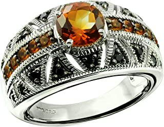 Sterling Silver 925 Ring Genuine Gemstone Round 7 mm with Rhodium-Plated Finish, Band Style