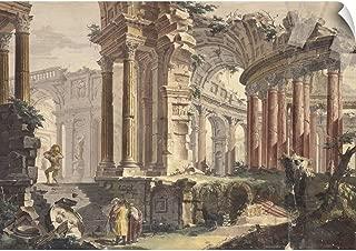 CANVAS ON DEMAND Francis Chiarotti Wall Peel Wall Art Print Entitled Perspective of Classic Ruins, by Francis Chiarotti, 18th C. 30
