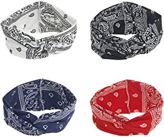 DINPREY Assorted Paisley Print Wide Bandana Knot Headbands Criss Cross Head Wrap Hair Band (4 Colors Pack A)