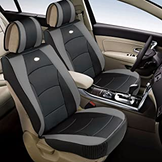 FH Group PU205102 Ultra Comfort Leatherette Front Seat Cushions, Gray/Black Color - Fit Most Car, Truck, SUV, or Van