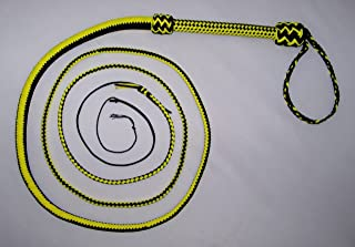 10 Foot Long 16 Plait Black and Yellow NYLON well-weighted SHOT LOADED Bullwhip Whips Bull Whip. SKU# NY60