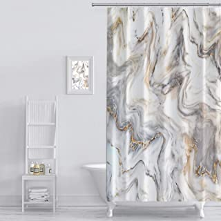 MuaToo Shower Curtain Marble Ink Texture Background Pattern Print Luxurious Graphic Print Polyester Fabric Bathroom Decor Sets with Hooks 60 x 72 Inches